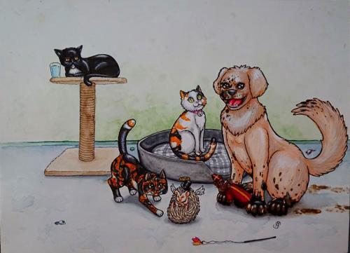 5 pets 1 portrait